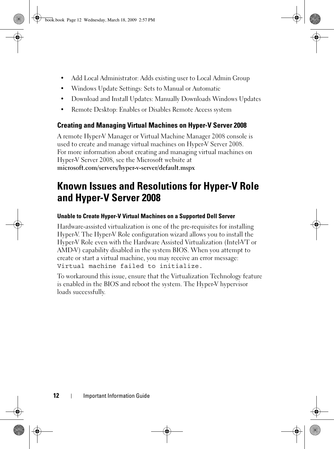 Dell Micrsoft Hyper V Server 2008 Important Information Guide V™