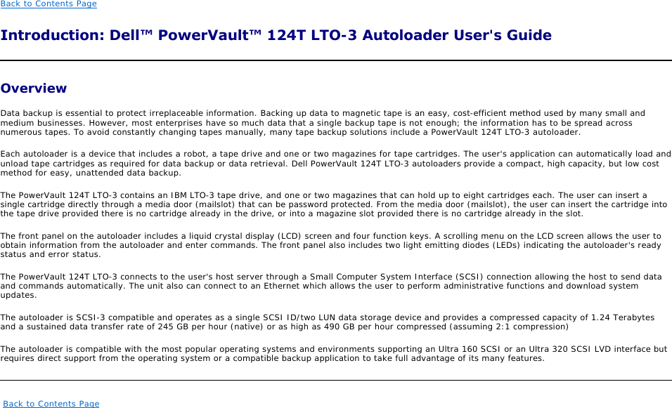 Dell Network Hardware 124T Lto 3 Users Manual PowerVault Autoloader