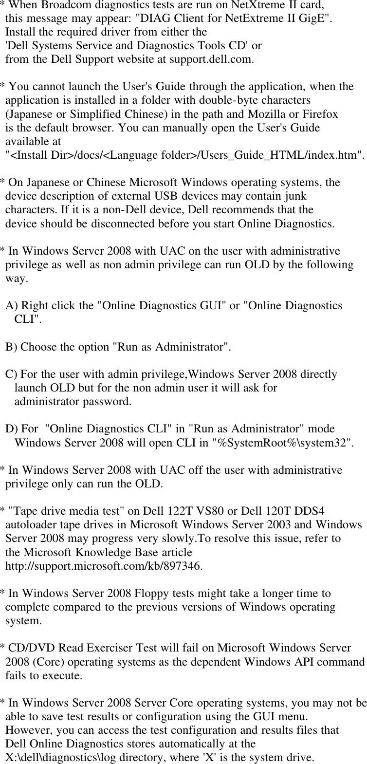 Dell Online Diagnostics Version 2 17 Owners Manual 2 17 Readme