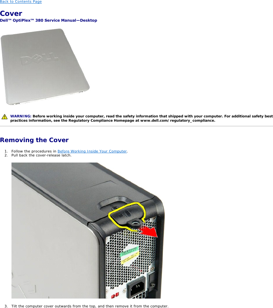Dell Optiplex 380 Late 2009 Service Manual Desktop