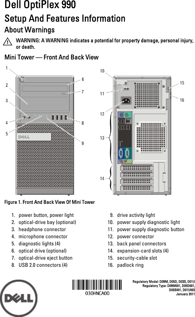 Dell Optiplex 990 Early 2011 Setup And Features Information Tech Sheet