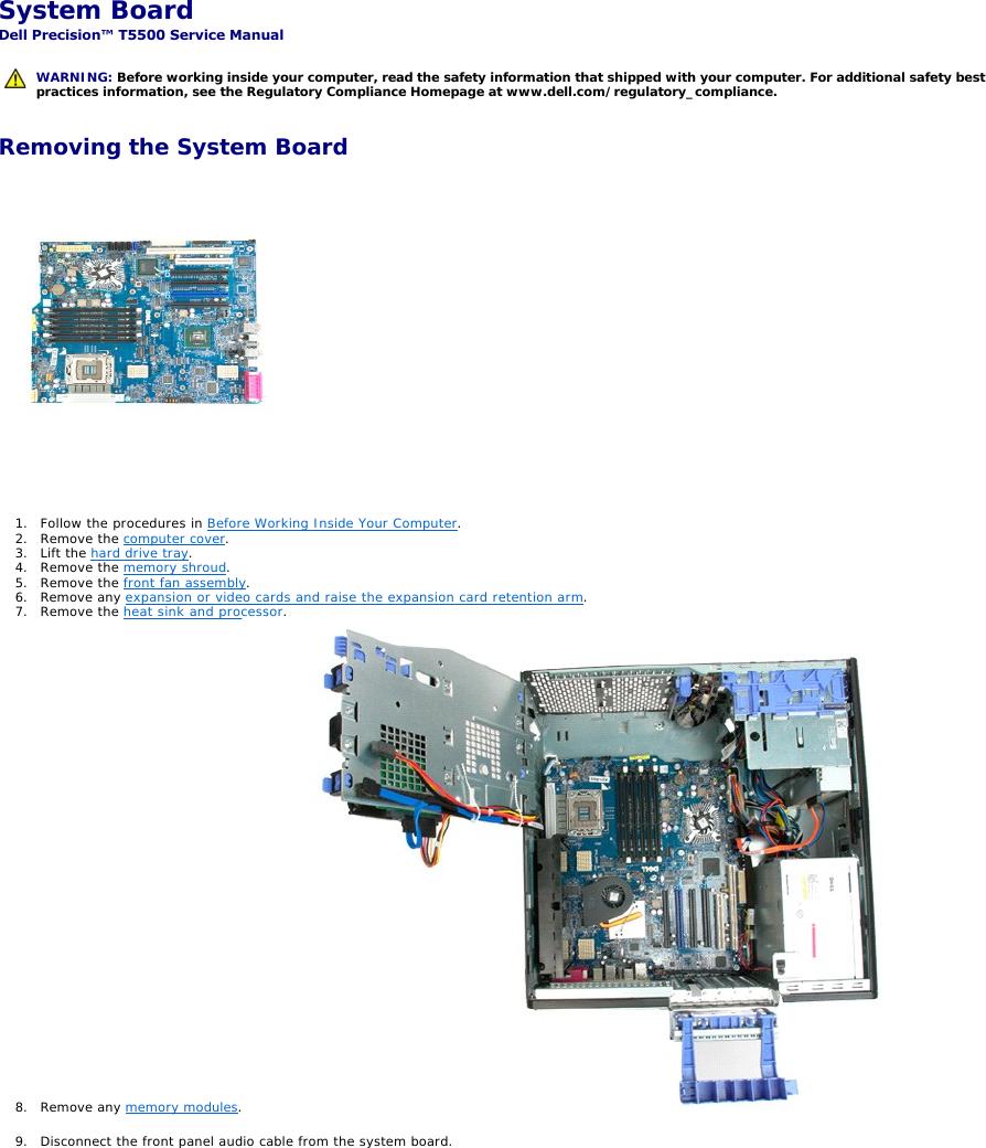 Dell Personal Computer T5500 Users Manual Precision™ Service