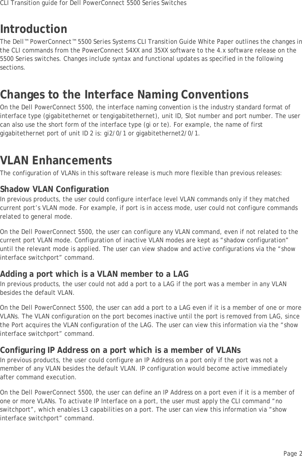 Dell Powerconnect 5548P Technical White Paper CLI Transition