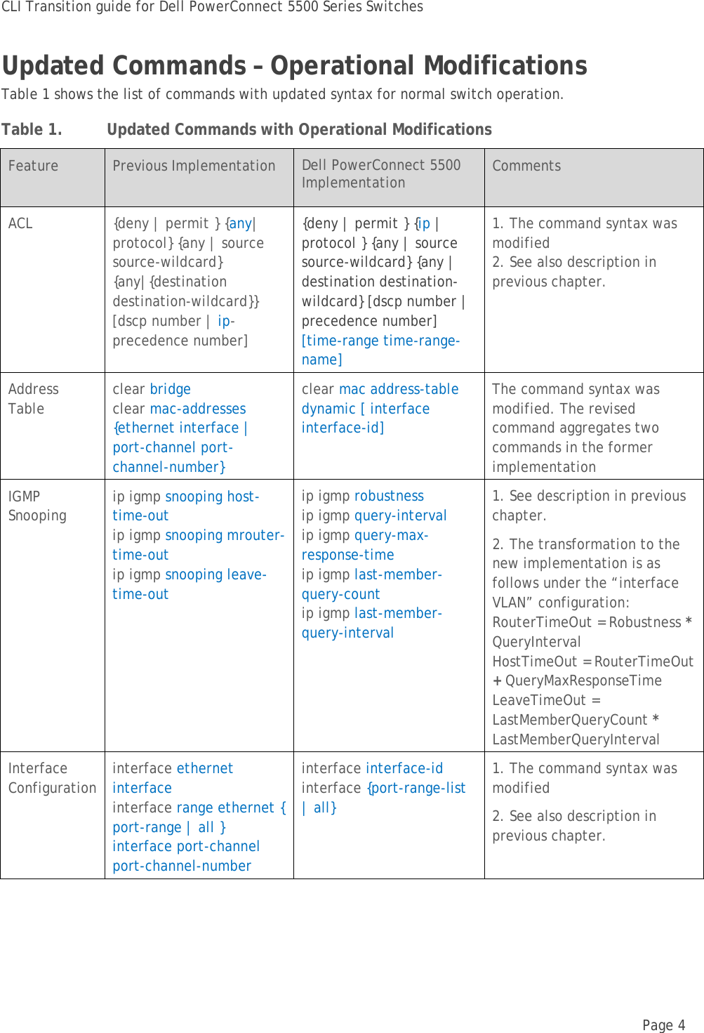 Dell Powerconnect 5548P Technical White Paper CLI Transition Guide