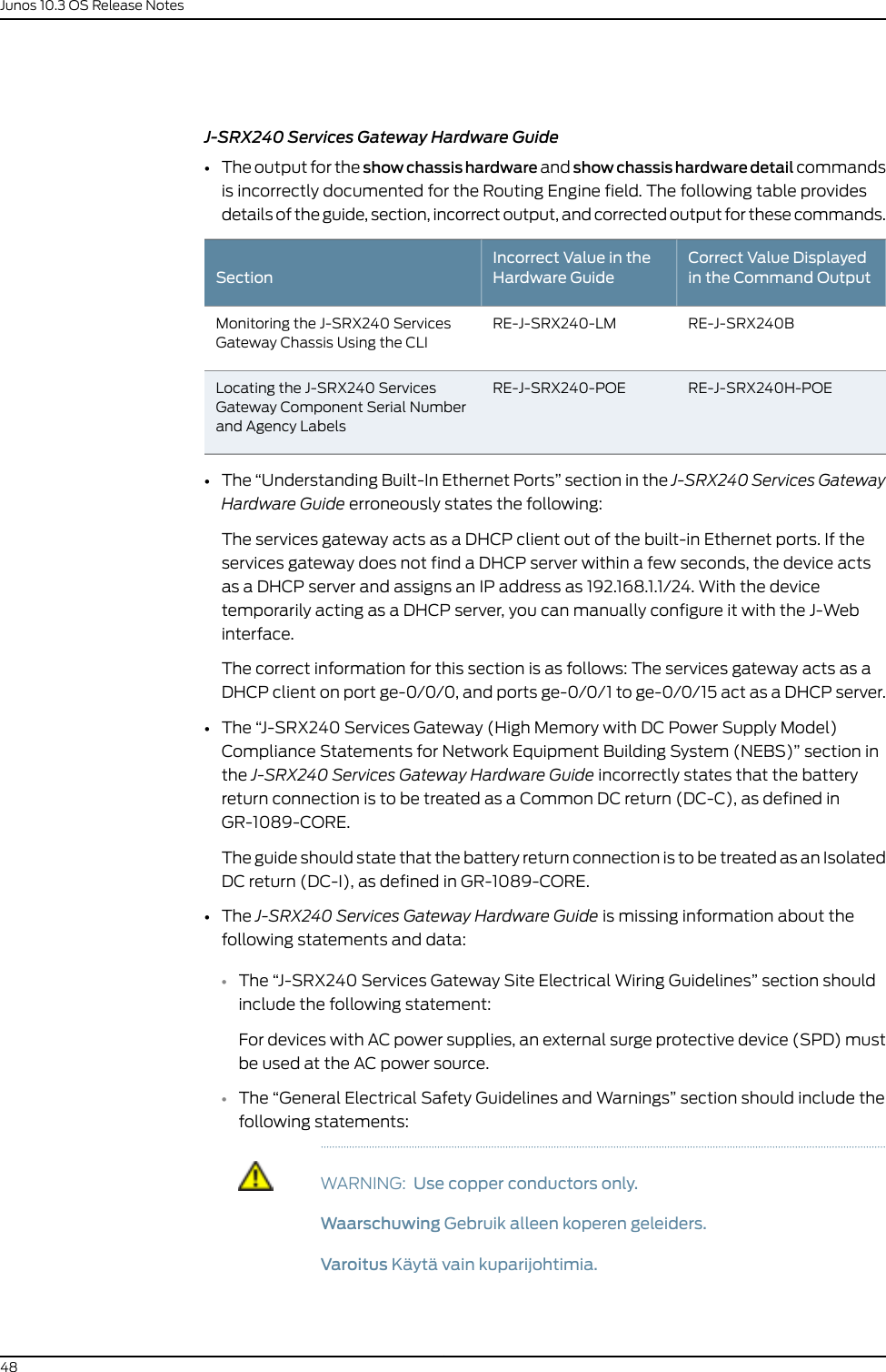 Dell Powerconnect J Srx210 Owners Manual Release Notes JUNOS
