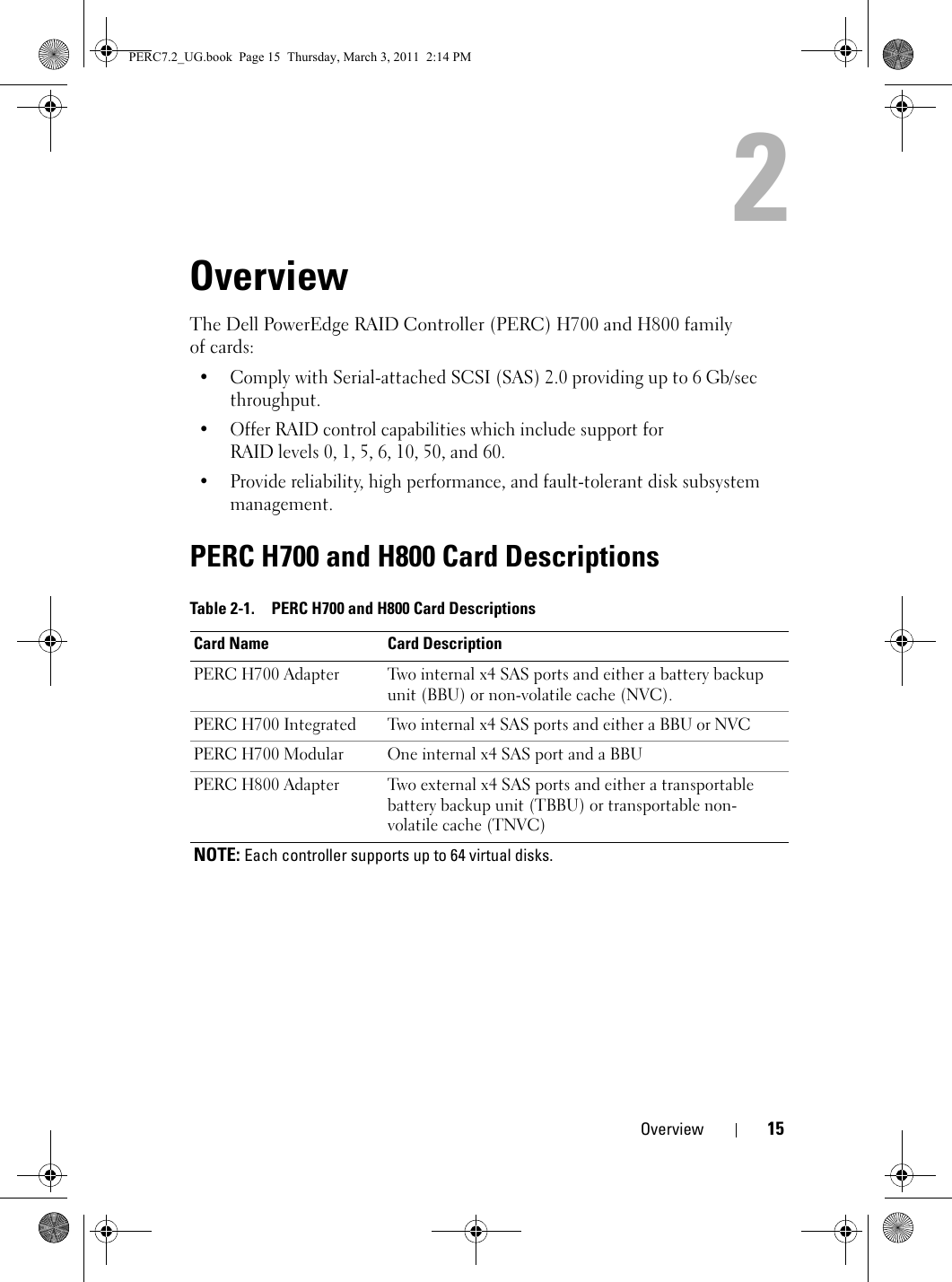 Dell Poweredge Raid Controller H700 Owners Manual User's Guide