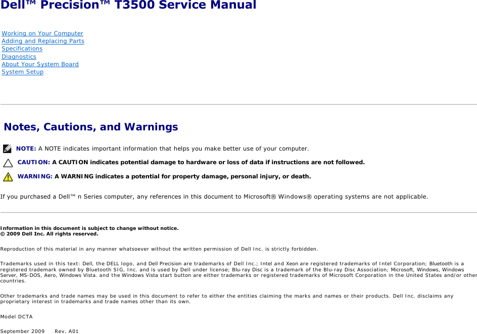 Dell Precision T3500 Early 2009 Service Manual Precision™