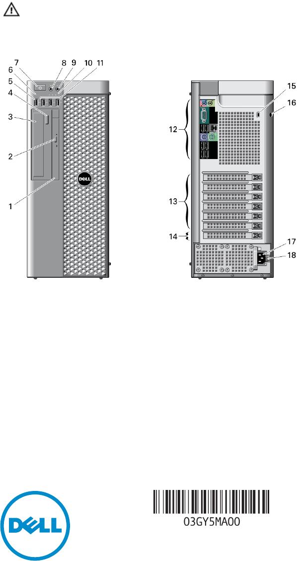 Dell Precision T5610 Late 2013 Quick Start Guide Workstation