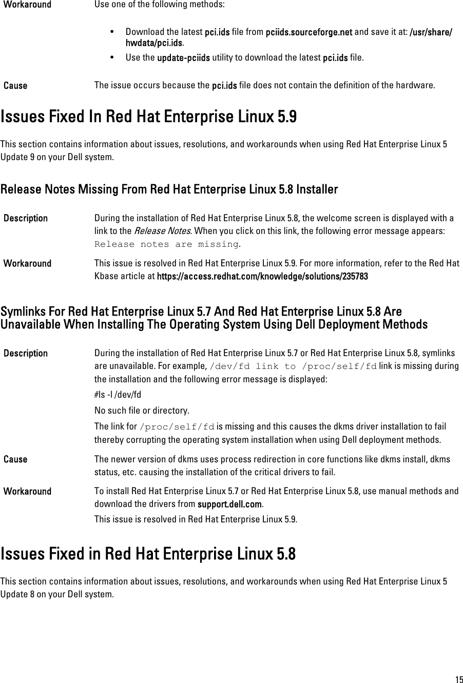 Dell Red Hat Enterprise Linux Version 5 Owners Manual