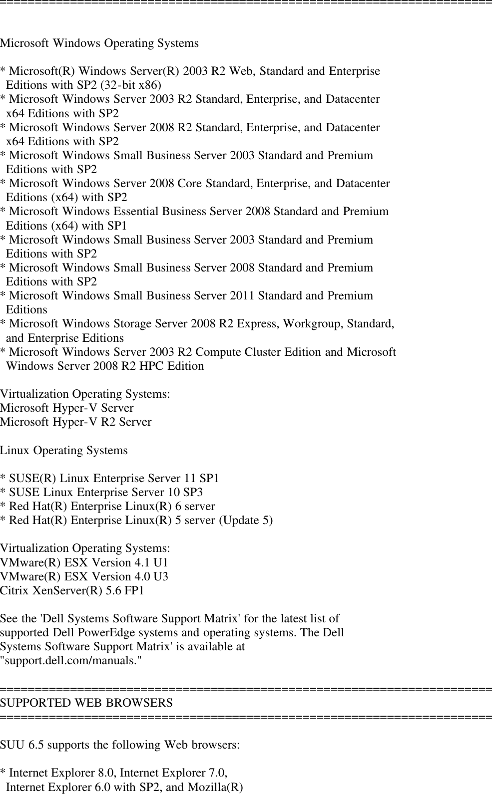 Dell Server Update Utility Version 6 5 Owners Manual 6 5 Readme