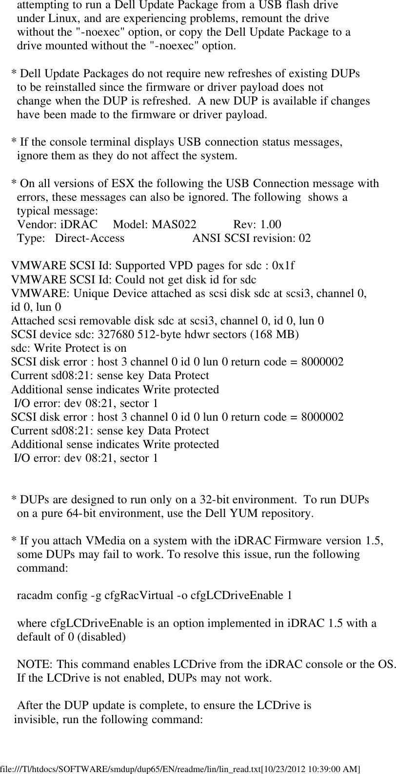 Dell Update Packages Version 6 5 Owners Manual 6.5 Readme For Linux
