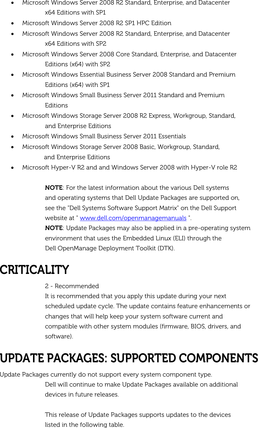 Dell Update Packages Version 7 3 Owners Manual For Microsoft