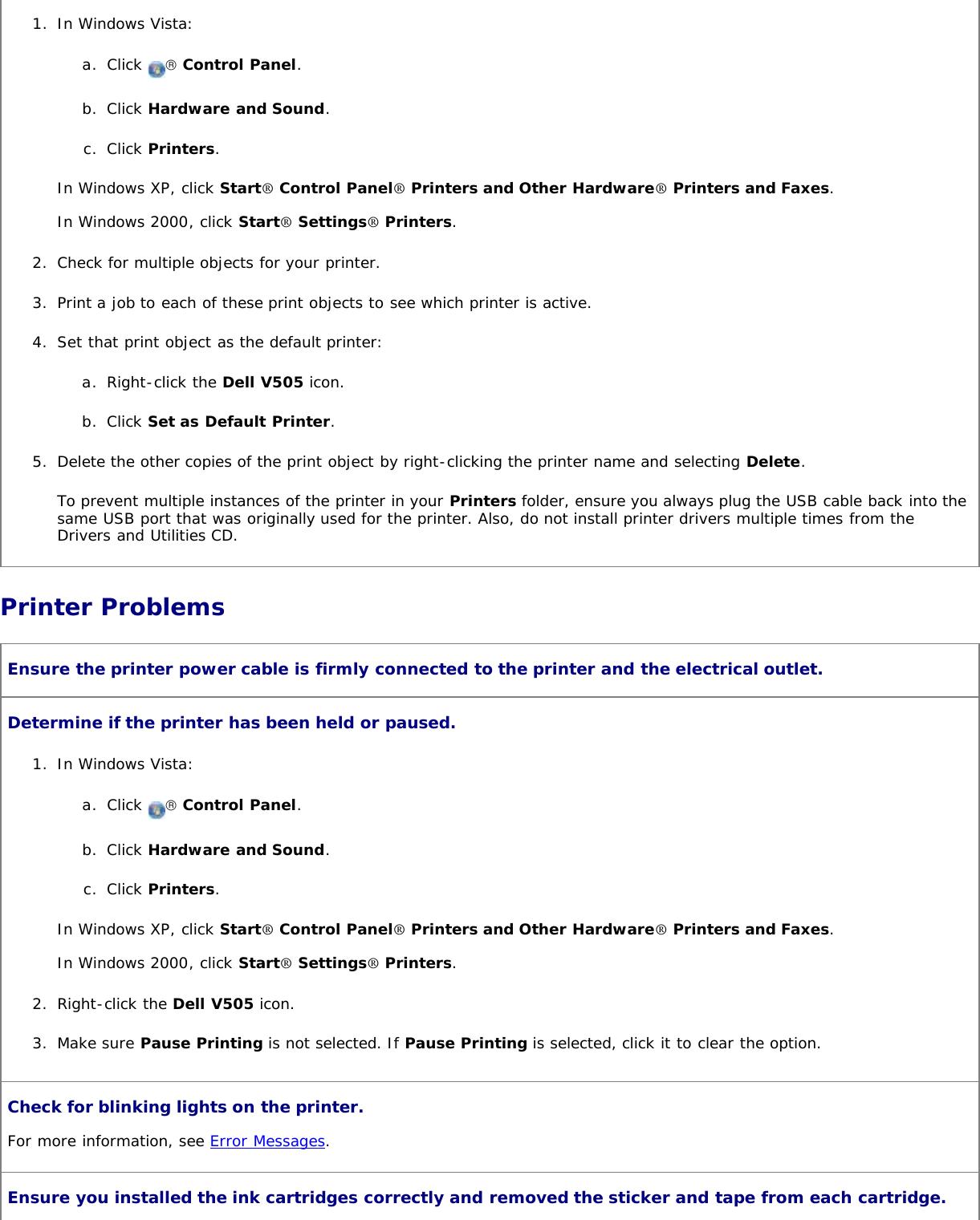 Dell V505 All In One Inkjet Printer Users Manual User's Guide