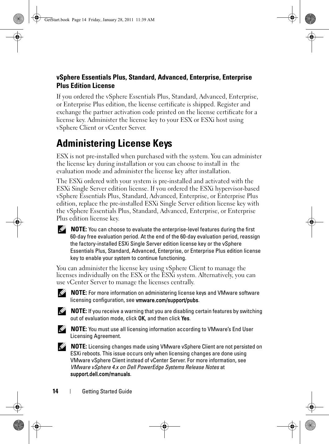 Dell Vmware Esxi 4 X Getting Started Guide VSphere On
