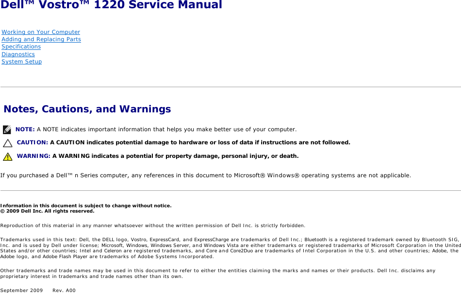 dell vostro 1220 service manual rh usermanual wiki