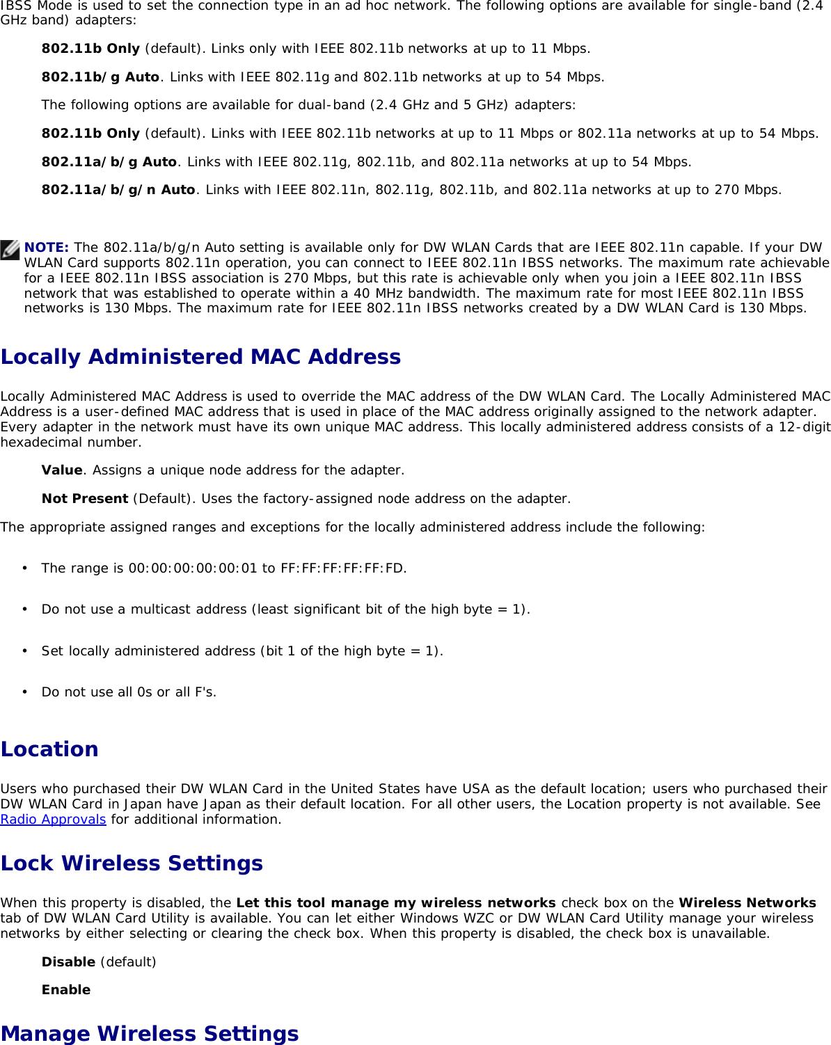Dell Wireless 1390 1395 1397 1490 1501 1505 1510 1520 Wlan