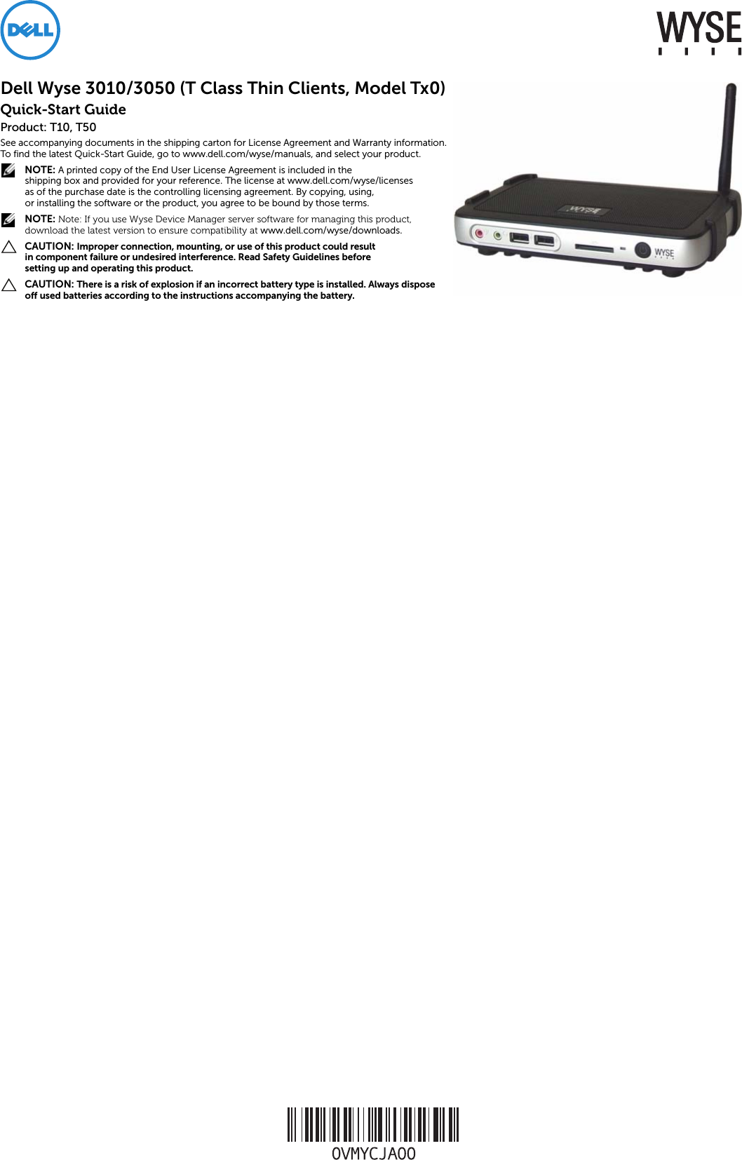 Dell Wyse T50 Quick Start Guide 3010/3050 (T Class Thin Clients, Tx0)