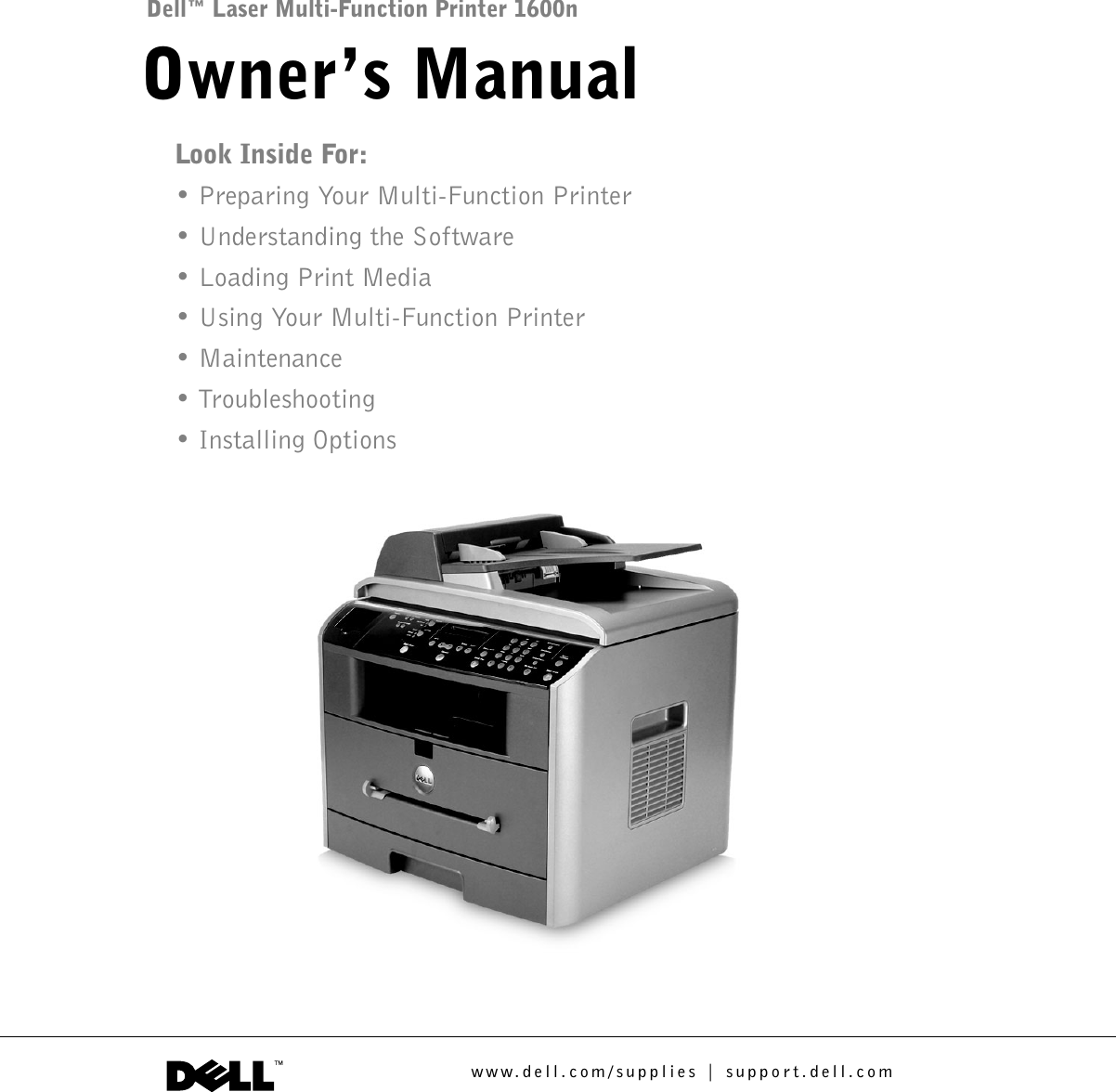 Dell 1600n Laser Multi Function Printer Owner S Manual User Owner S En Us