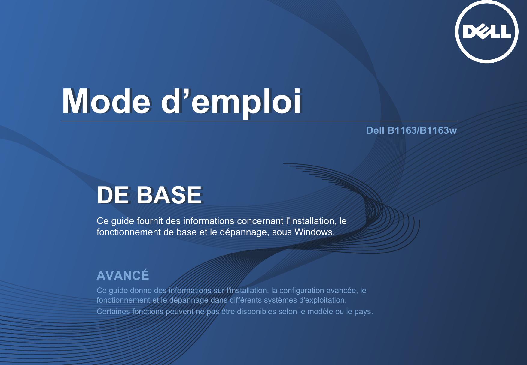 Dell b1163w Mode D'emploi User Manual User's Guide Fr