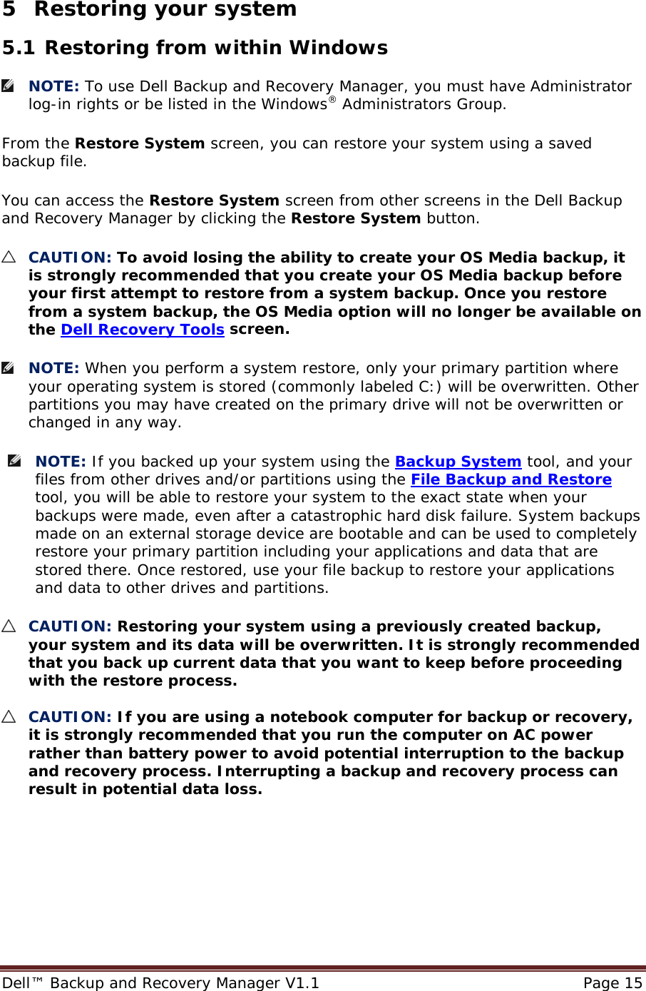 Dell bckup and recvry mangr v1 1 Backup Recovery Manager