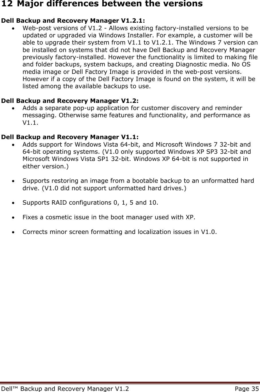 Dell bckup and recvry mangr v1 2 Backup Recovery Manager
