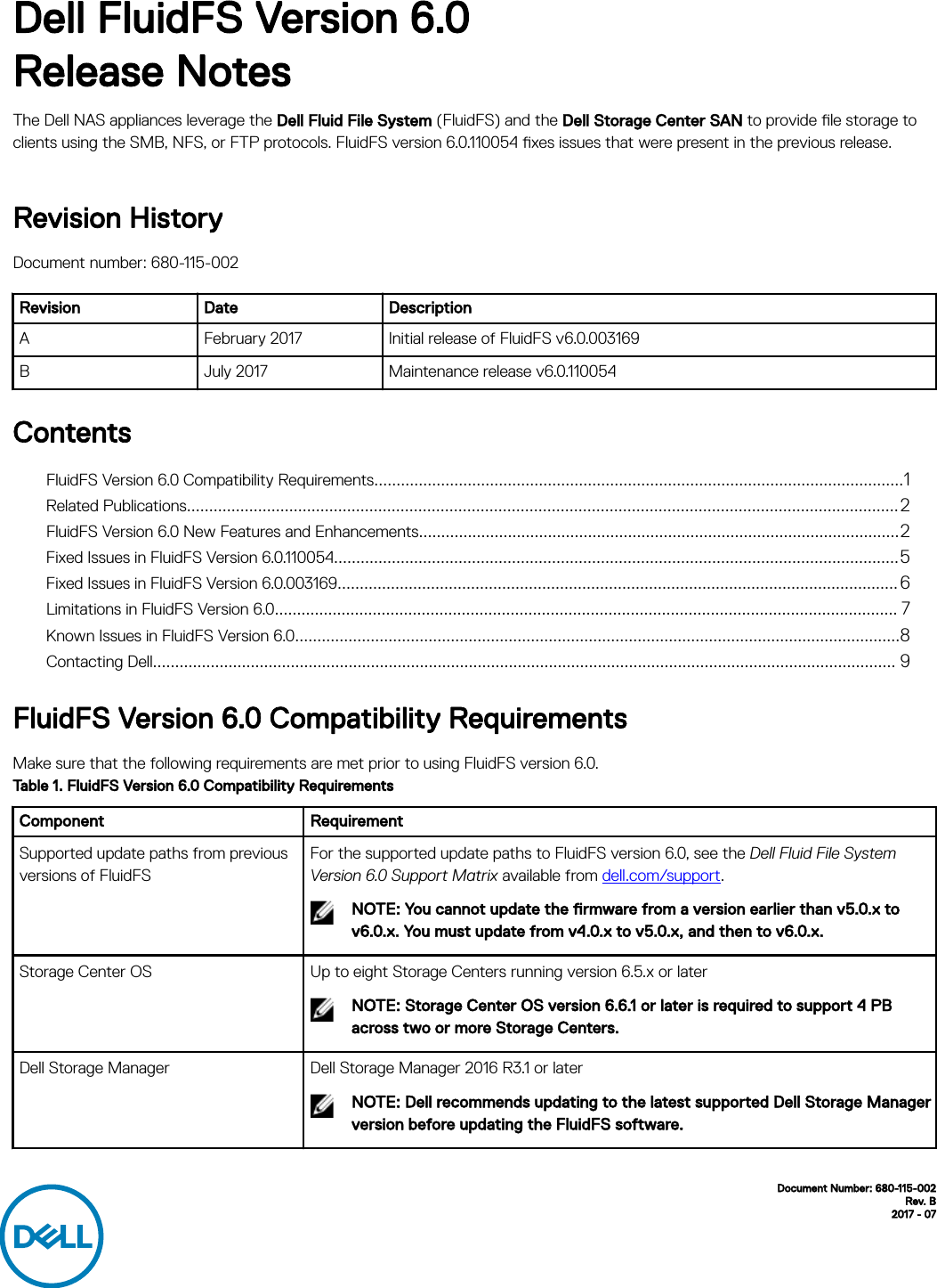 Dell compellent fs8600 FluidFS Version 6 0 Release Notes