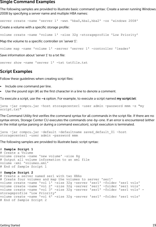Dell compellent sc4020 Storage Center OS Version 7 Command Utility