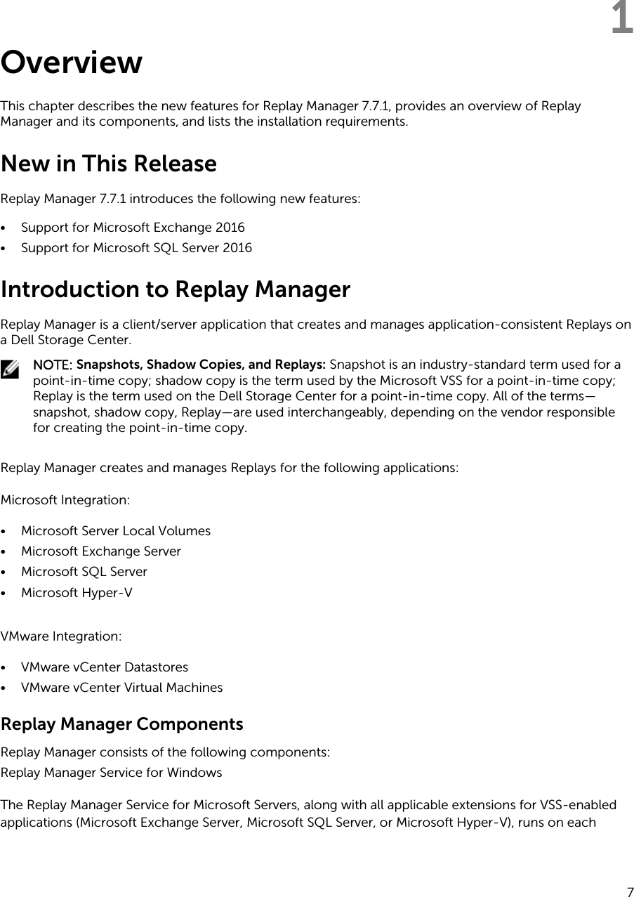 Dell compellent sc4020 Replay Manager Version 7 7