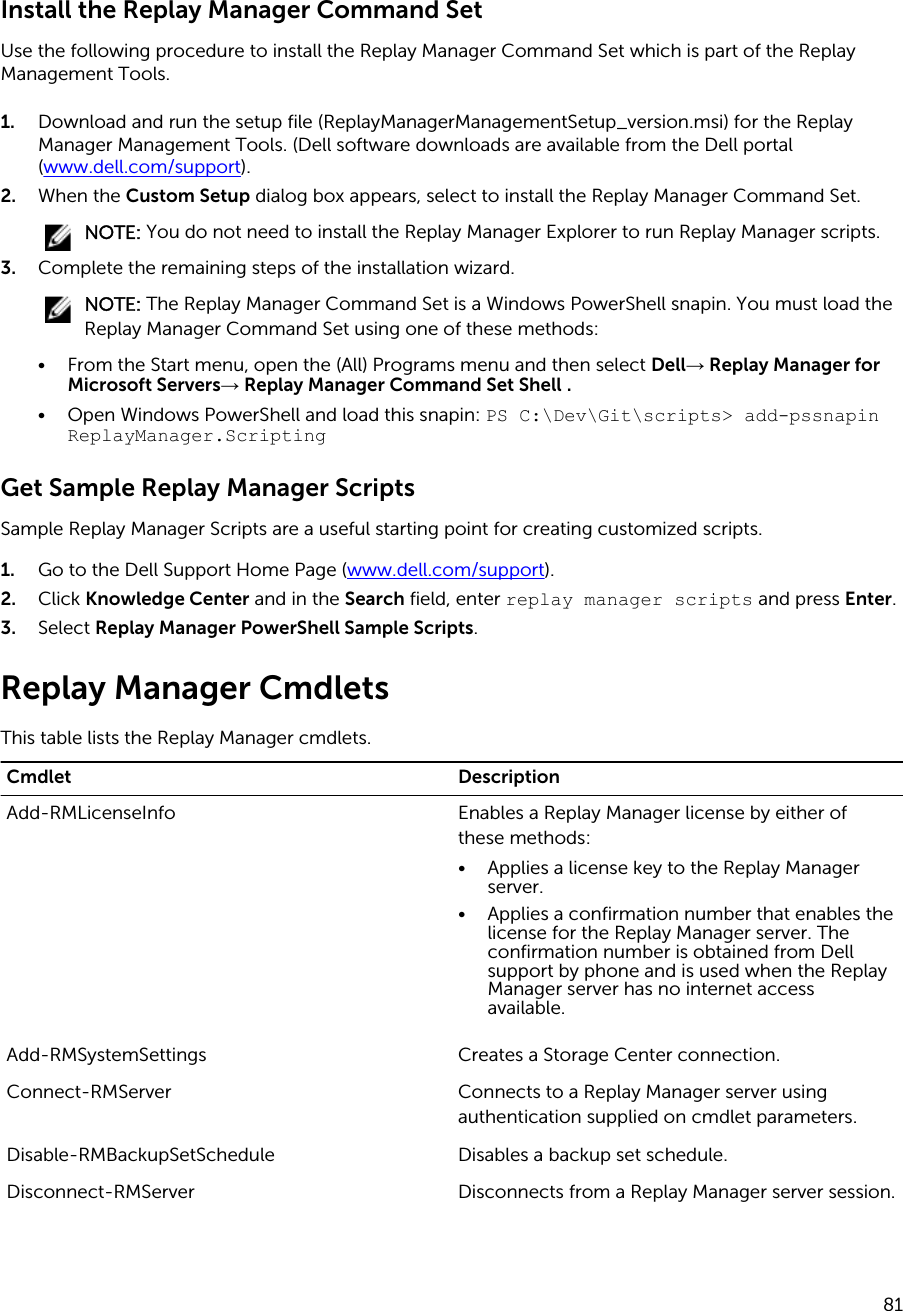 Dell compellent sc4020 Replay Manager Version 7 7 Administrator's