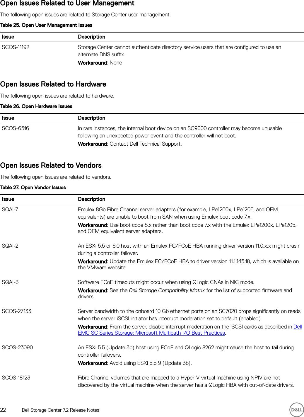 Dell compellent sc4020 Storage Center 7 2 Release Notes User Manual