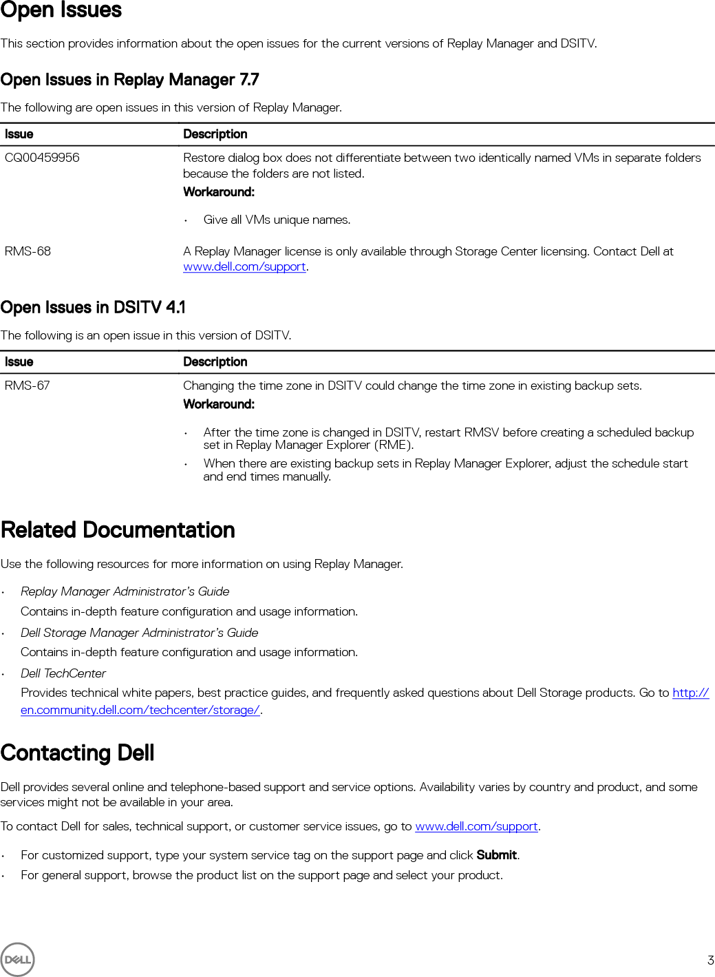 Dell compellent sc8000 Replay Manager 7 7 Release Notes User Manual