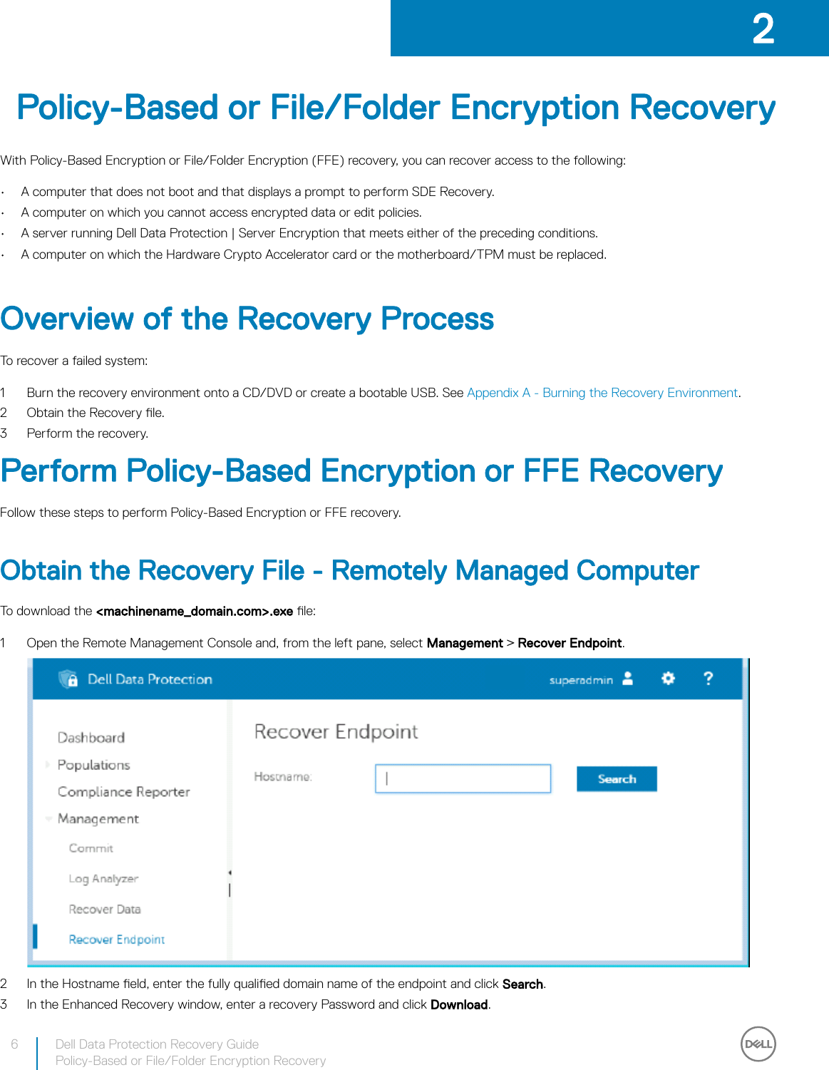 Dell data protection security tools Recovery Guide User Manual