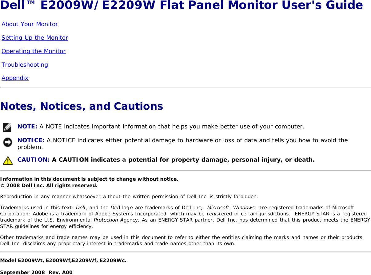Dell e2209wfp Dell™ E2009W/E2209W Flat Panel Monitor User's