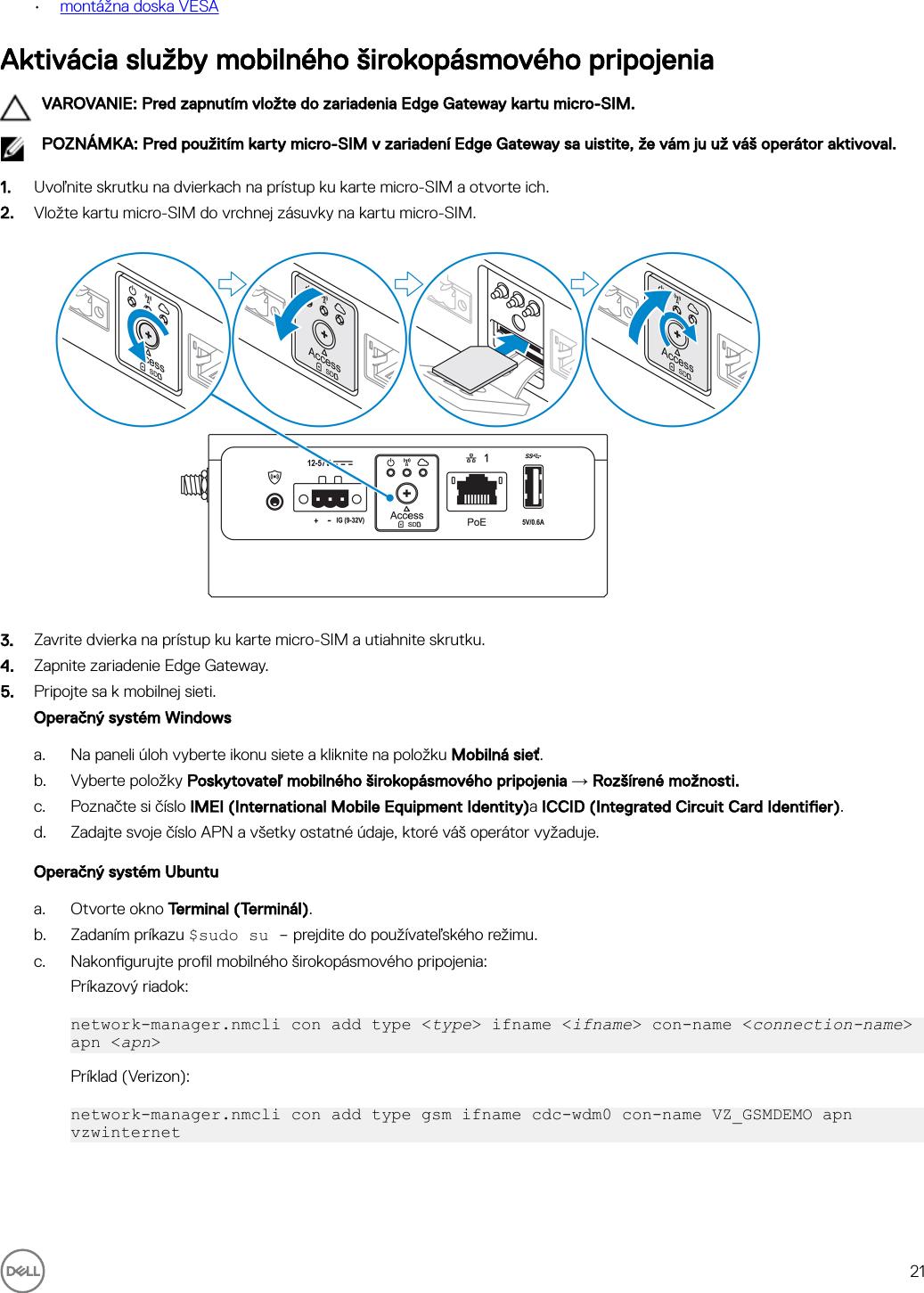 Dell edge gateway 3000 series 3003 Návod Na Inštaláciu A