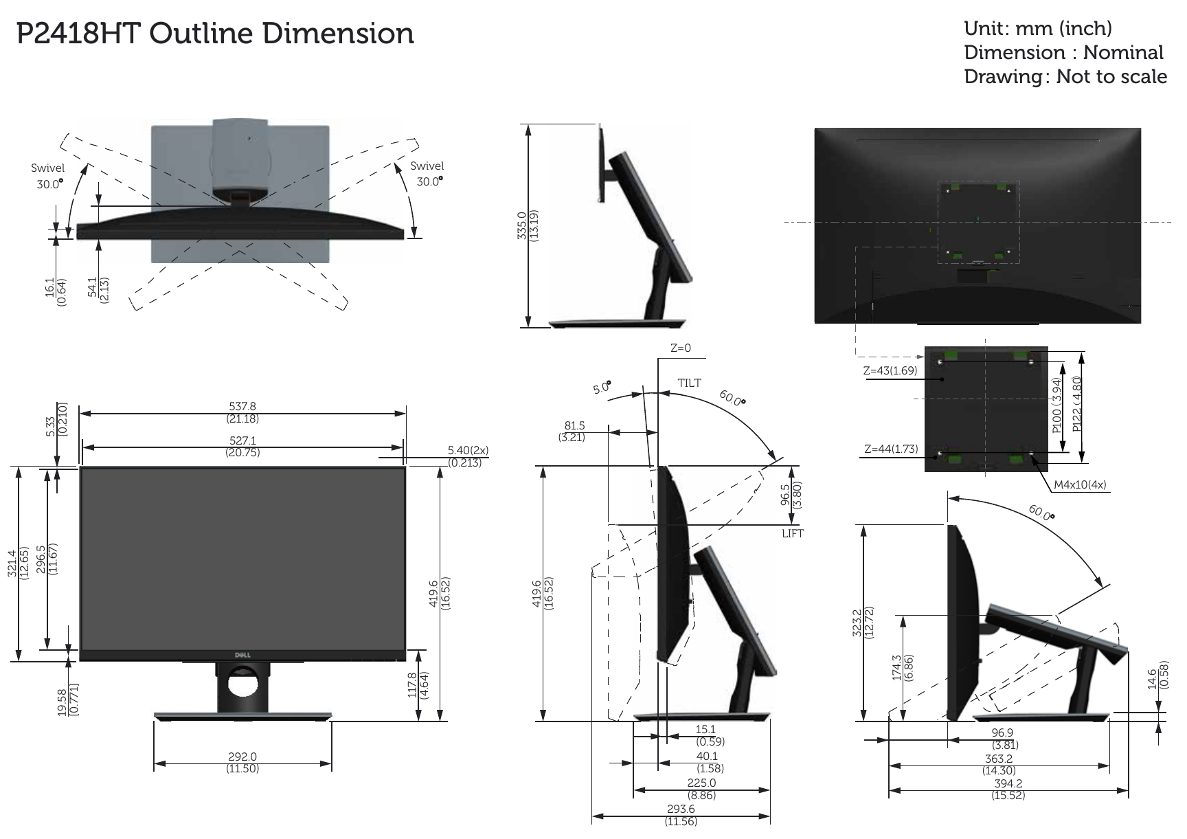 dell p2418ht monitor outline dimension user manual