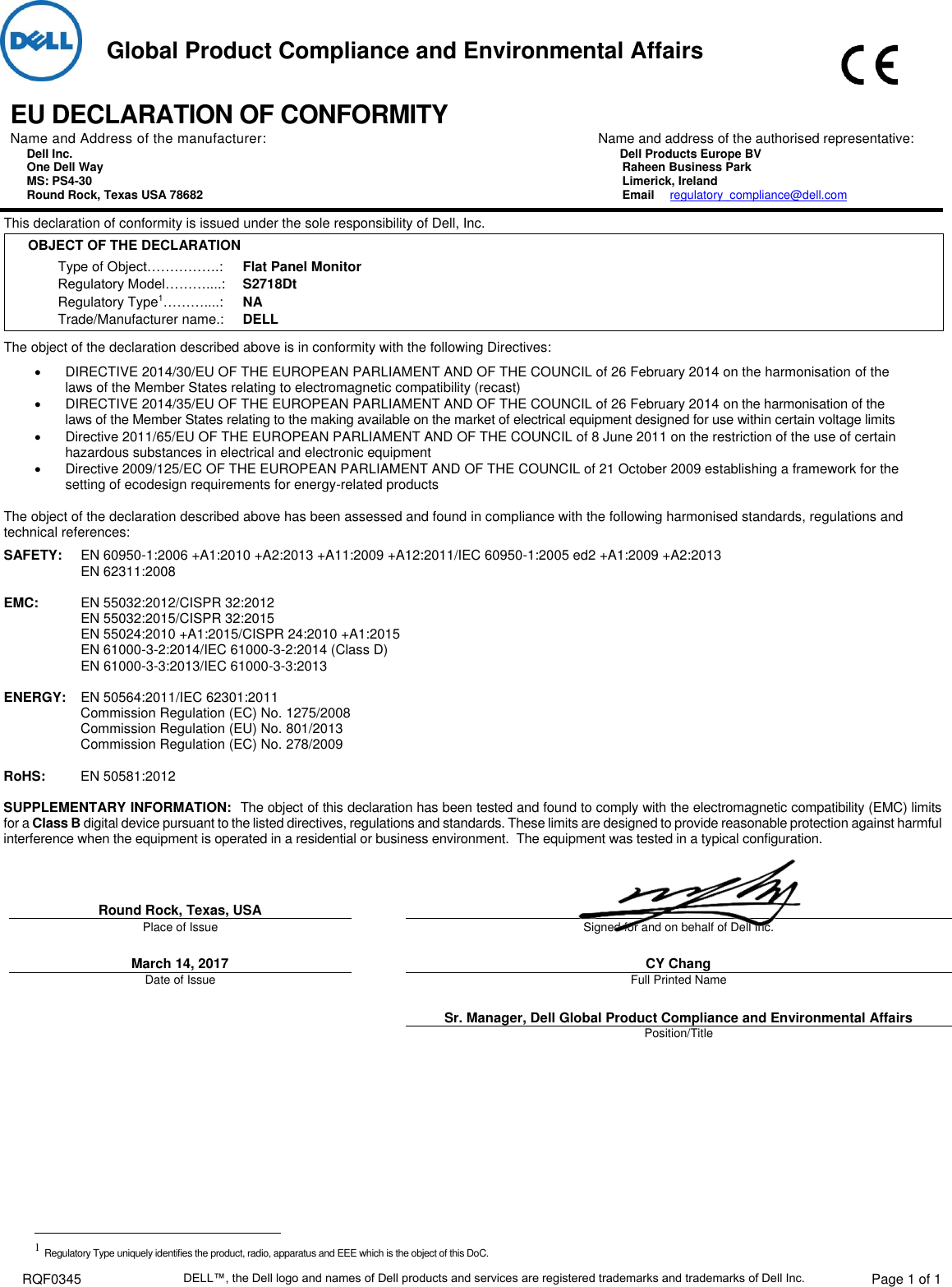 Page 1 of 1 - Dell Dell-s2718d-monitor RQF0345 User Manual  - EUROPEAN UNION CE Declaration Of Conformity Monitor S2718d,s2718dt,n A,european