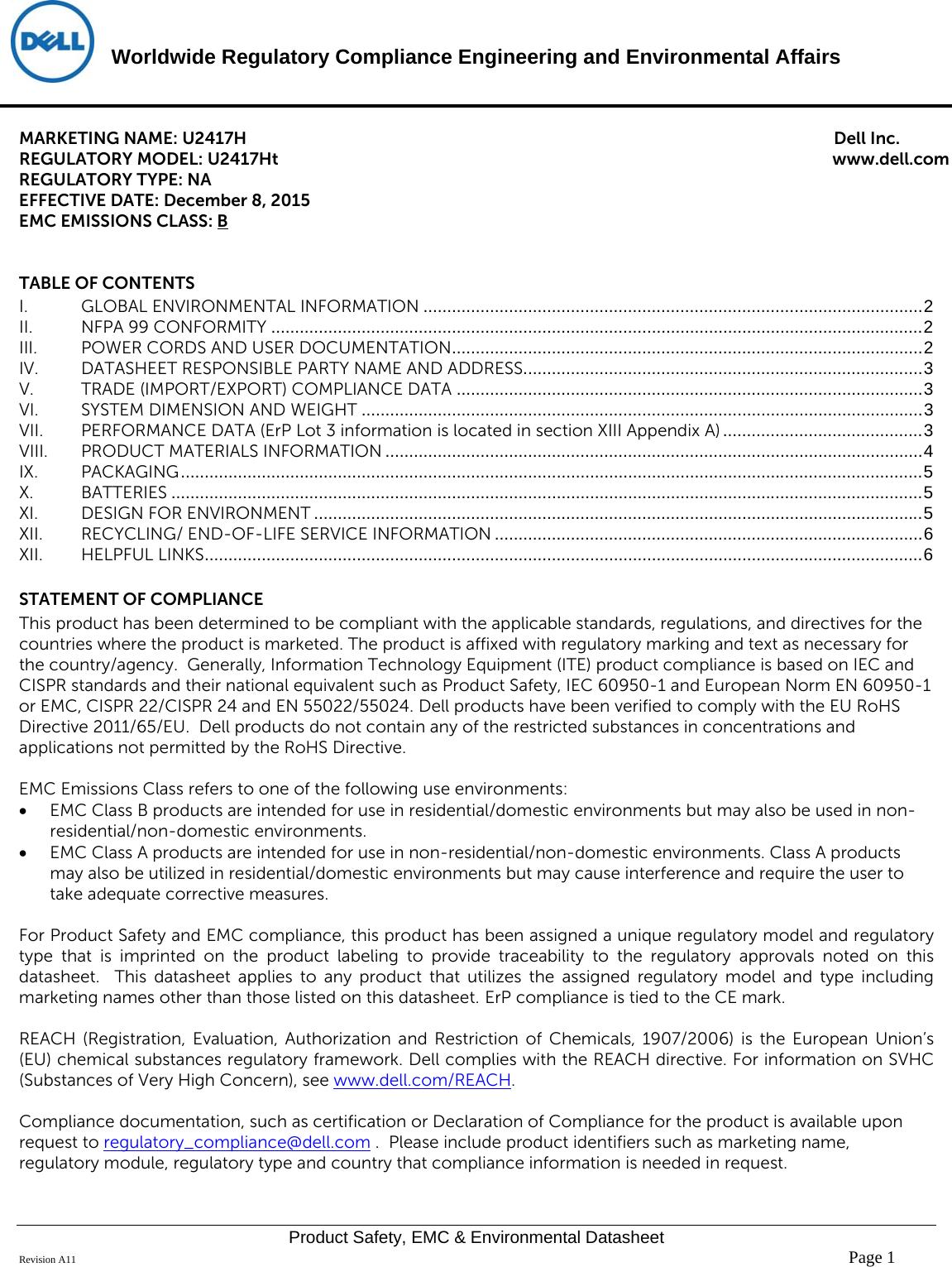 Dell U2417ha Monitor Disp U2417ht U2417h User Manual Regulatory And 4541 Datasheet Environmental U2417hau2417ht U2417han Adell