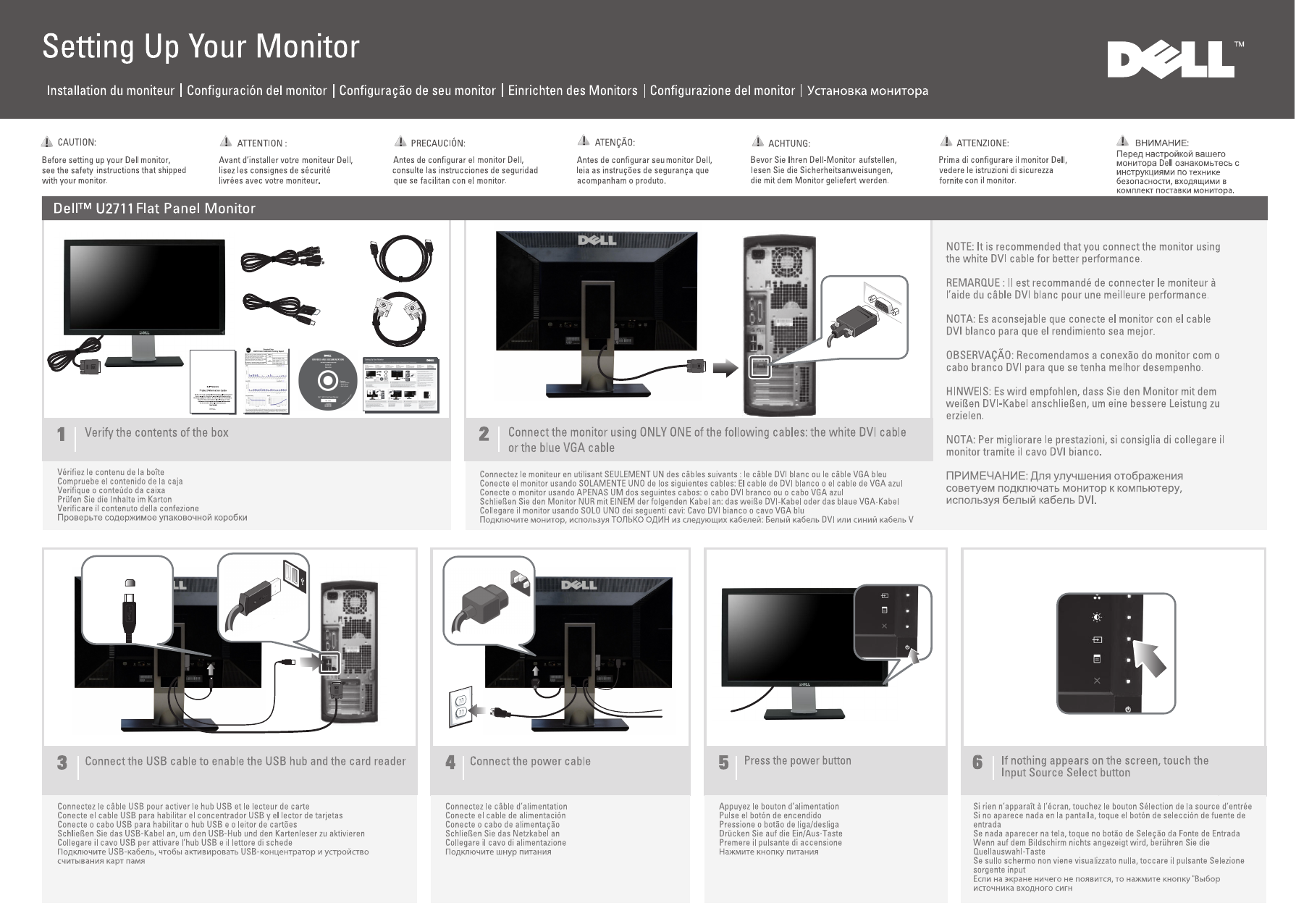Dell U2711 Monitor Setup Diagram User Manual Guide En Us