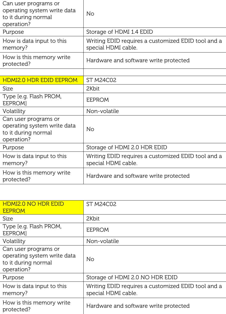 Dell u2718q monitor Statement Of Volatility User Manual Reference