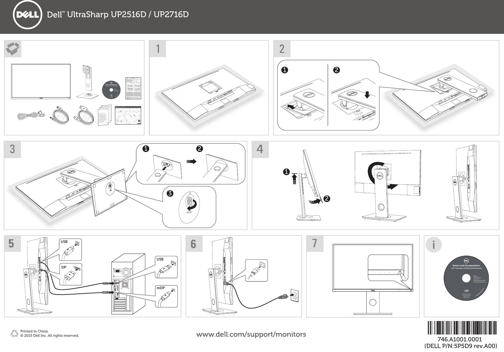 Dell up2716d monitor UltraSharp Quick Start Guide User
