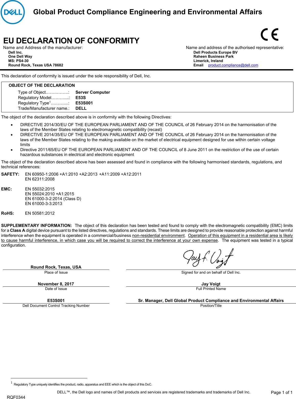 Dell Poweredge c4140 CE E53S User Manual EUROPEAN UNION