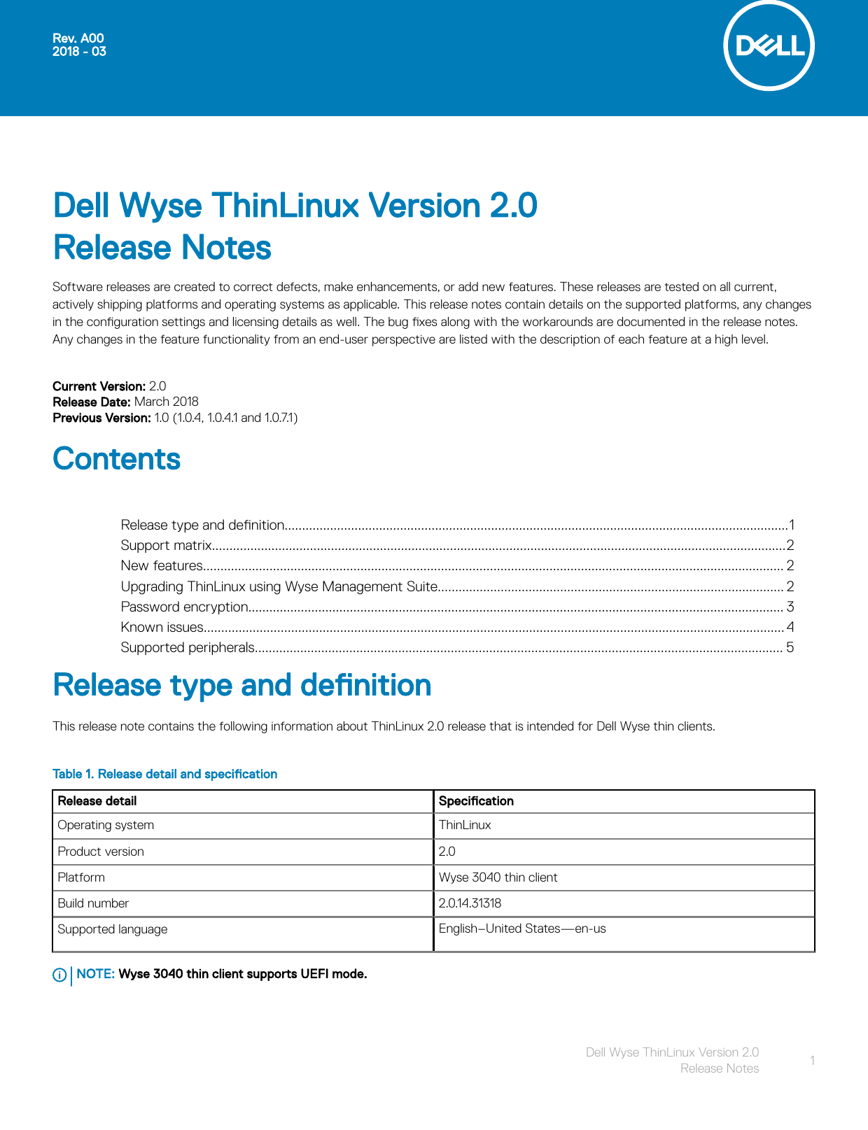 Dell Wyse 3040 thin client ThinLinux Version 2 0 Release