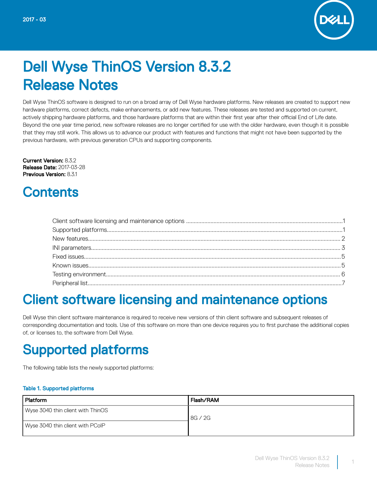 Dell Wyse 3040 thin client ThinOS Version 8 3 2 Release