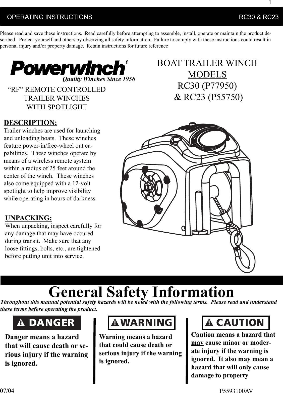 Delta Systems 2023 001 Remote Control User Manual P5593100av Indd Boat Trailer Winch Wiring Diagram 1 Operating Instructions Rc30 Amp Rc23please Read And Save These Carefully Before