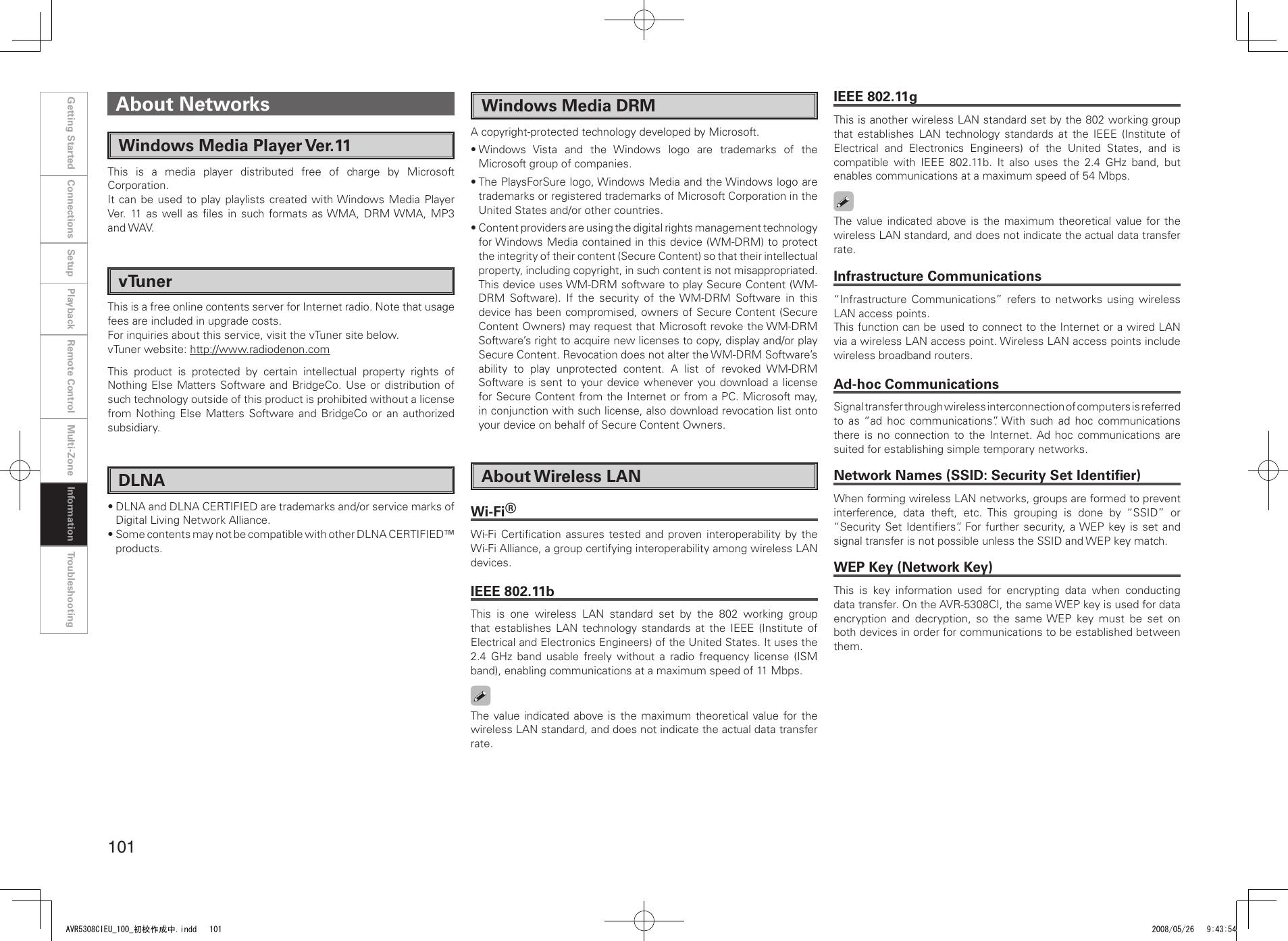 Denon Av Surround Receiver Avr 5308Ci Users Manual AVR5308CIEU_100_