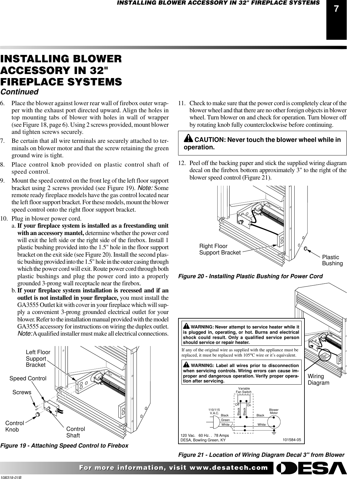 Desa Ga3750a Users Manual 3 Speed 115 Volt Bloweer Motor Wiring Schematic Page 7 Of 12