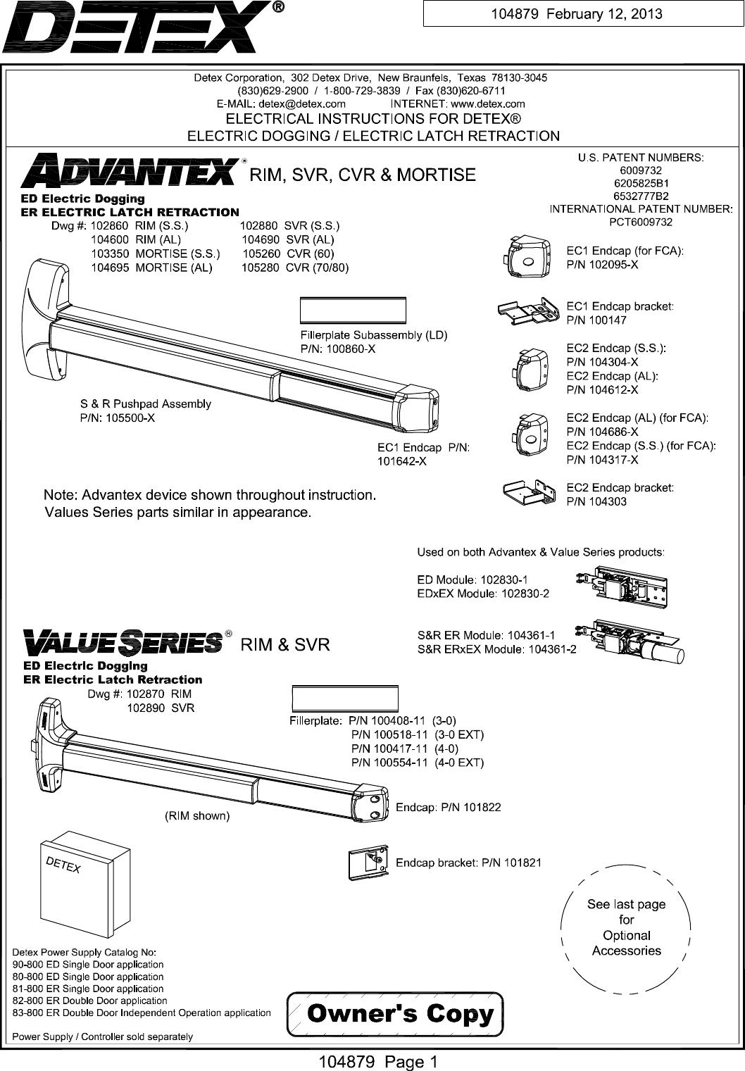 Detex R Electrical Instructions For Electric Dogging Latch Wiring Diagrams Retraction Rim Svr Cvrmortise 104879