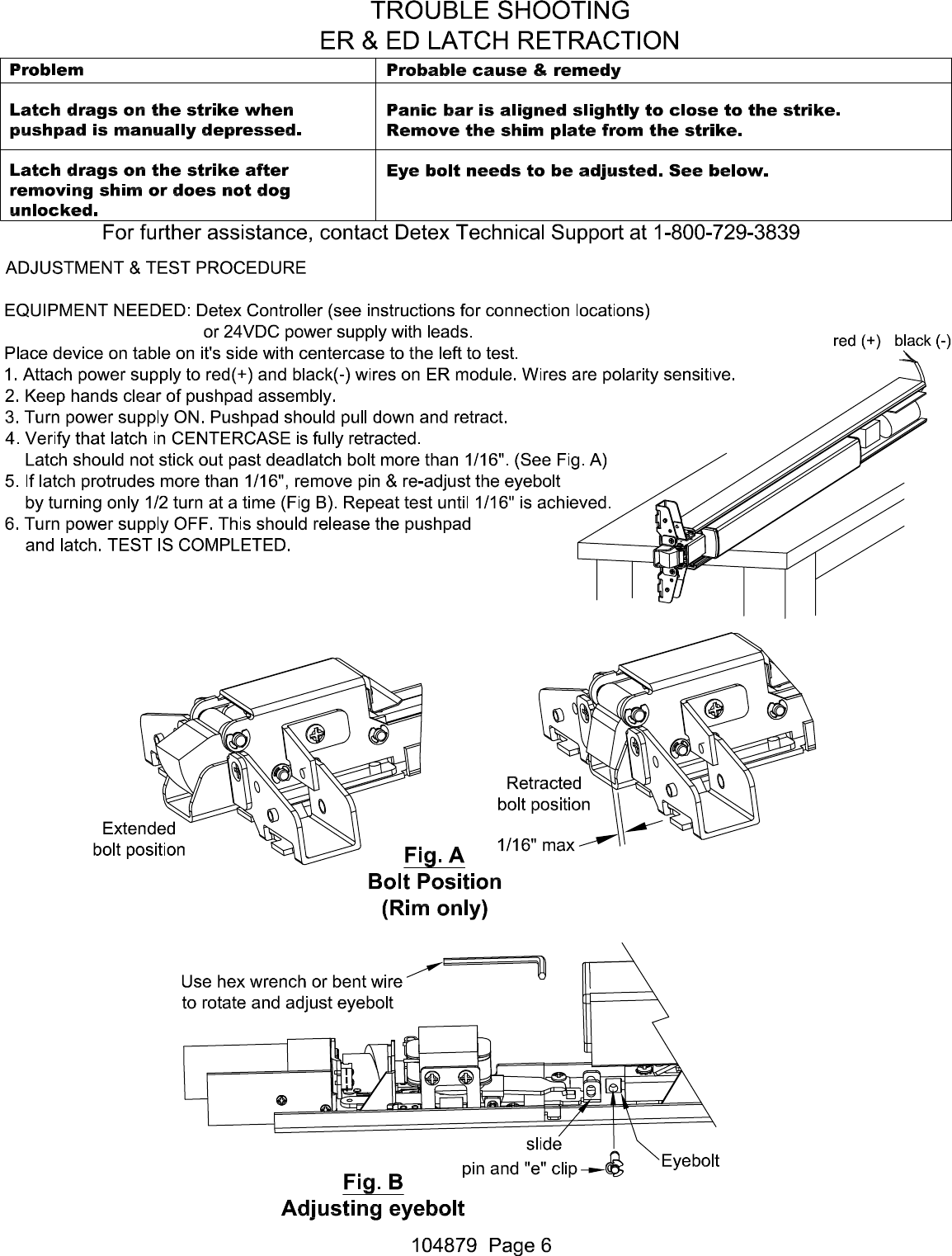Detex R Electrical Instructions For Electric Dogging Latch Wiring Diagrams Page 6 Of 7 Retraction