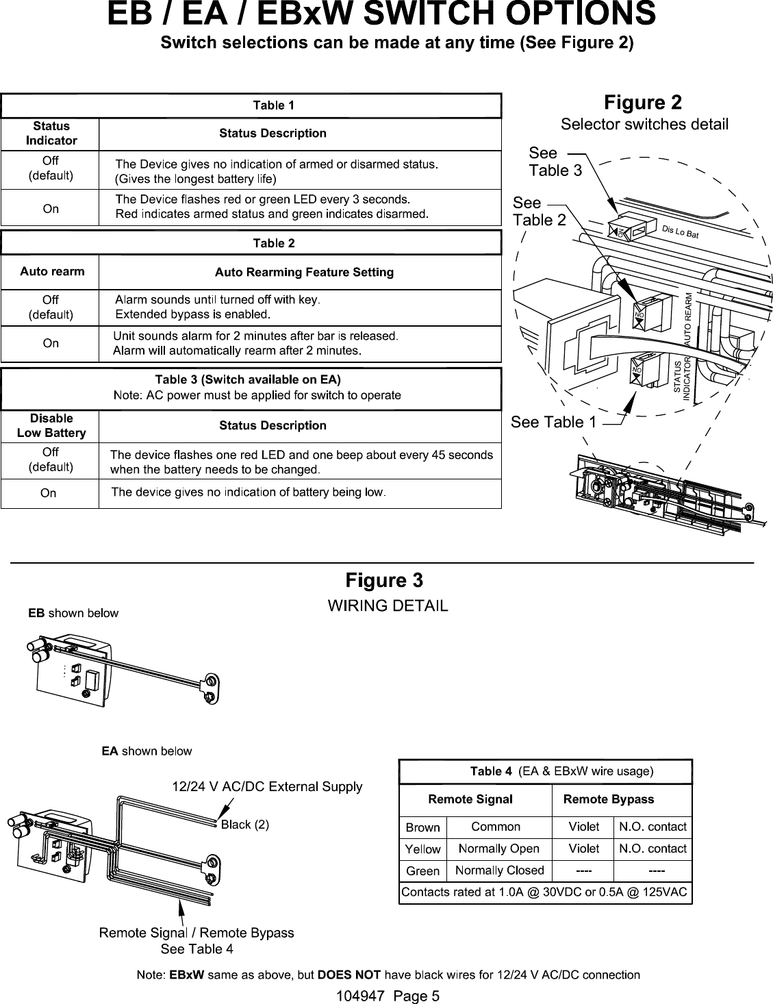 Detex C Electrical Instructions For Value Series Eb Ea Ex And Ebx Wiring Diagrams Page 5 Of 7