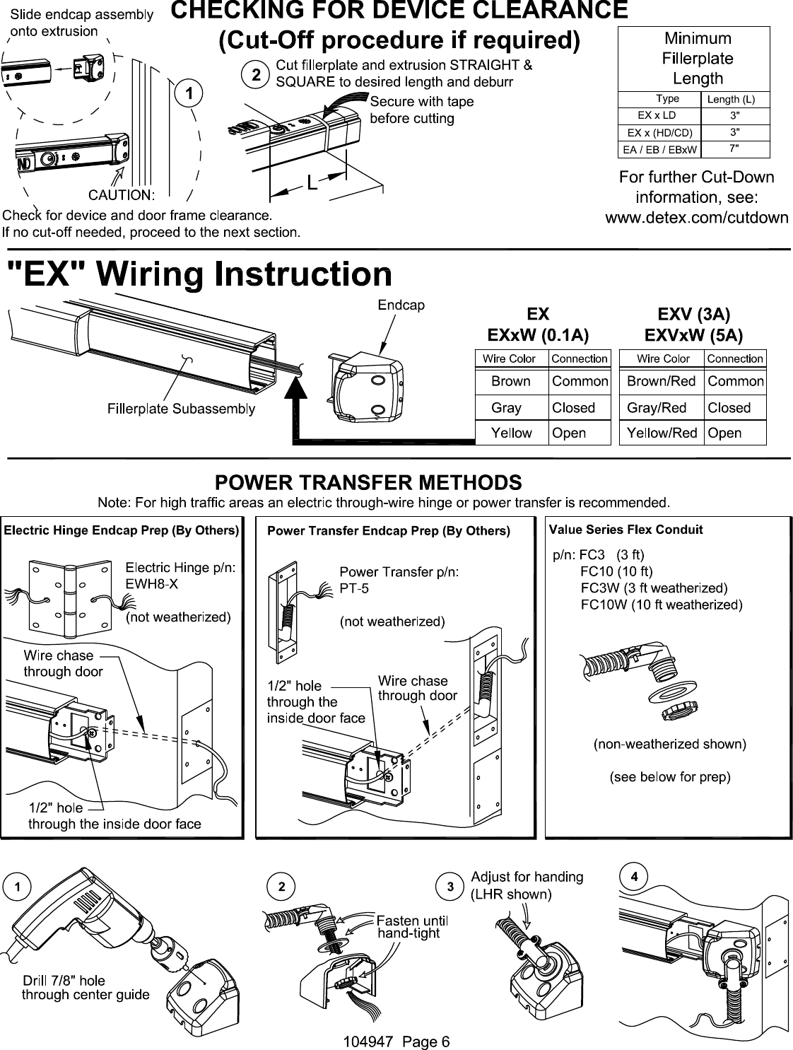 Detex C Electrical Instructions For Value Series Eb Ea Ex And Ebx Wiring Diagrams Page 6 Of 7